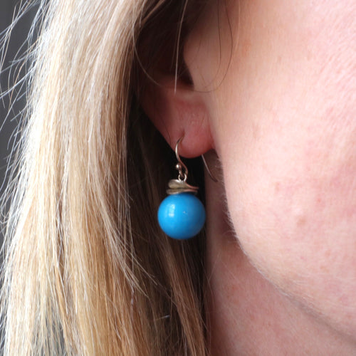 Blue Turquoise Mountain Jade Earrings