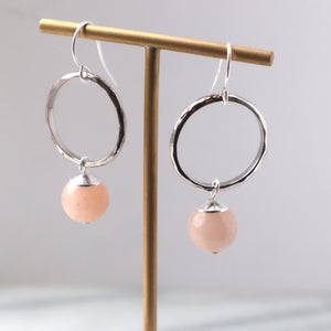 Peach Aventurine Silver Hoop Earrings