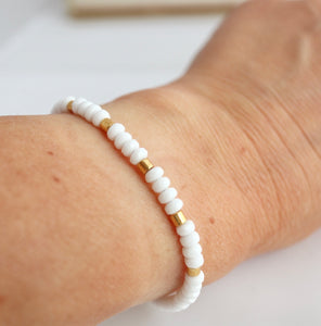 white amd gold handmade beaded bracelet by alison walsh jewellery made in ireland