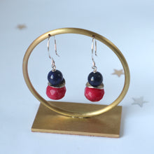 Load image into Gallery viewer, navy lapis  red hanfmade irish earrings