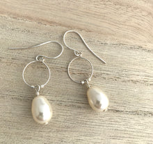 Load image into Gallery viewer, Silver Pearl Hoop Earrings - alisonwalshjewellery