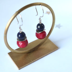 navy lapis  red hanfmade irish earrings