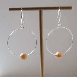 silver gold bead hoops