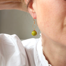 Load image into Gallery viewer, lime green mountain jade handmade irish earrings