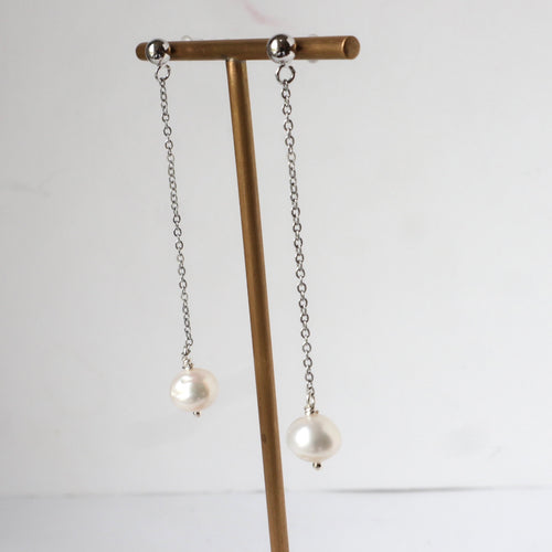 Freshwater pearl fine chain handmade Irish earrings
