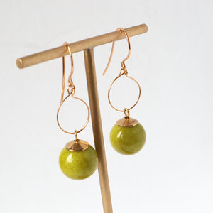 lime green mountain jade handmade irish earrings