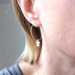 stetlong silver gold star irish handmade hoop earrings