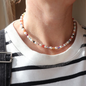 pearl millefiori sterling silver handmade necklace