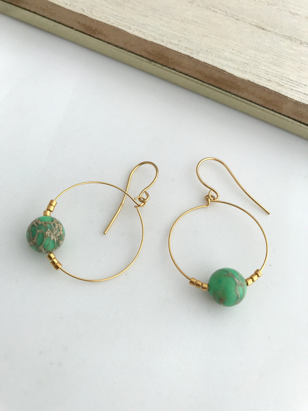 Green Mosaic Hoop Earrings - alisonwalshjewellery