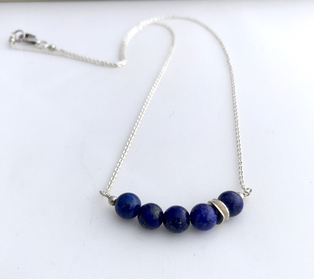 Lapis Lazuli and Sterling Silver Necklace - alisonwalshjewellery