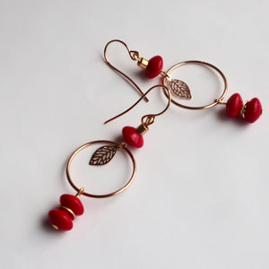 handmad red ceramic long gold hoop earrings