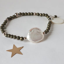 Load image into Gallery viewer, pyrite and pearl handmade bracelet