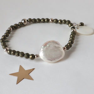 pyrite and pearl handmade bracelet