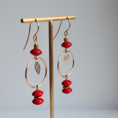 red ceramic beads gold hoop smd gold leaf earrings