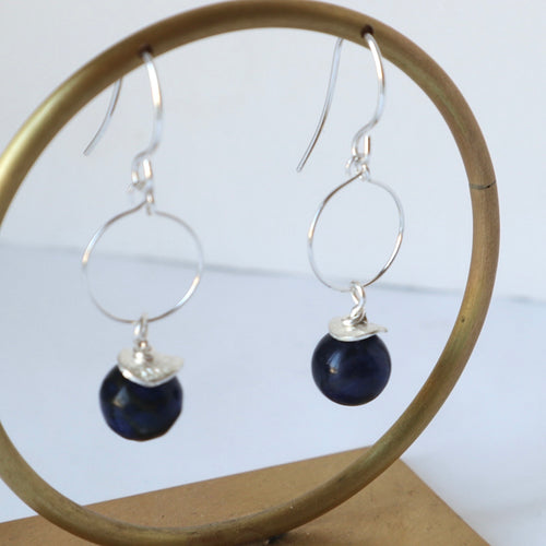 Lapis Lazuli Small Hoop Earrings
