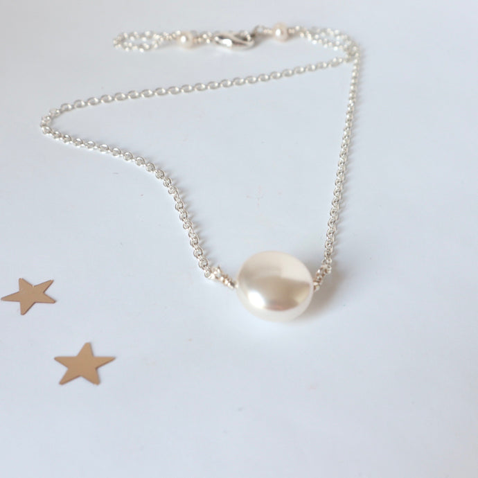 handmade pearl and silver irish chain