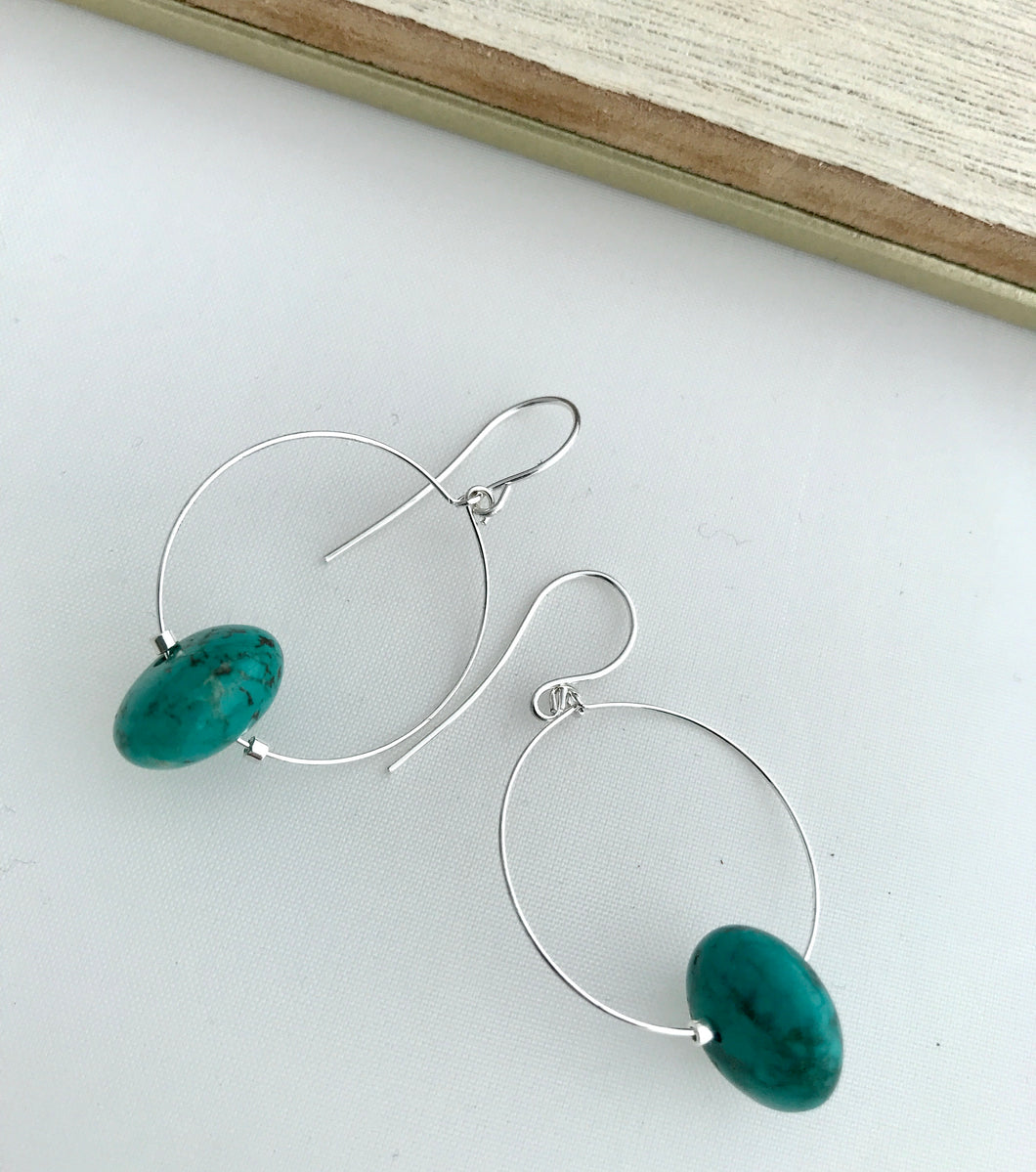 Turquoise Rondelle Hoop Earrings - alisonwalshjewellery