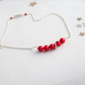 red coral silver handmade irish necklace