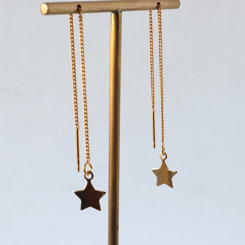 gold star handmade threader earrings
