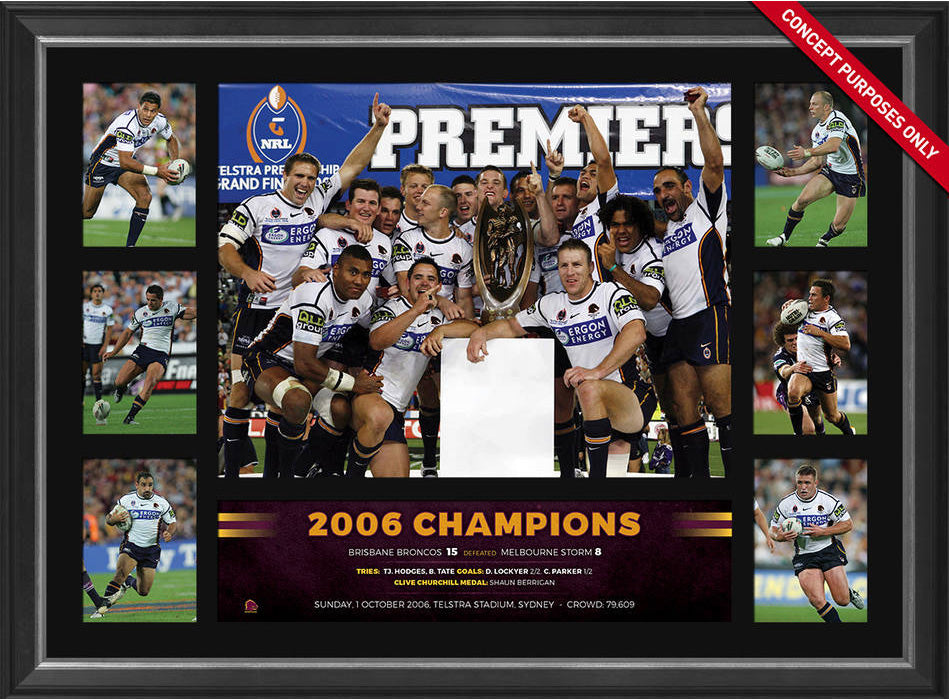 2006 Brisbane Broncos Premiers Tribute Frame Fully Licensed by the NRL