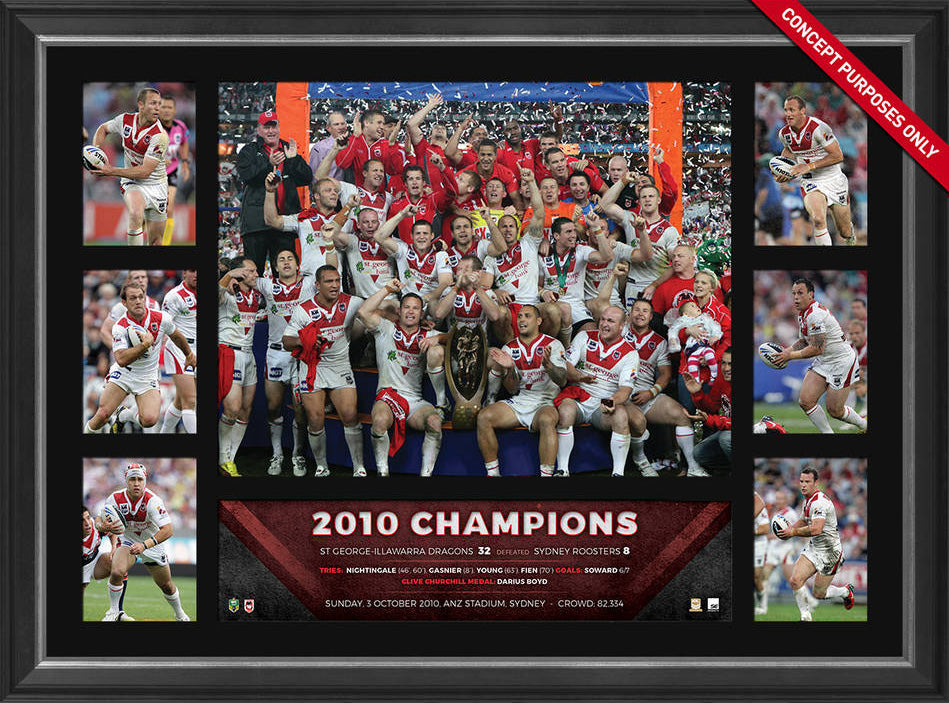 2010 St George Illawarra Dragons Premiers Tribute Frame - Fully Licensed by the NRL