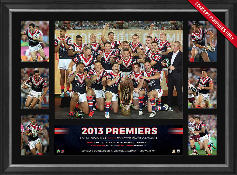 2013 Sydney Roosters Premiers Tribute Frame Fully Licensed by the NRL