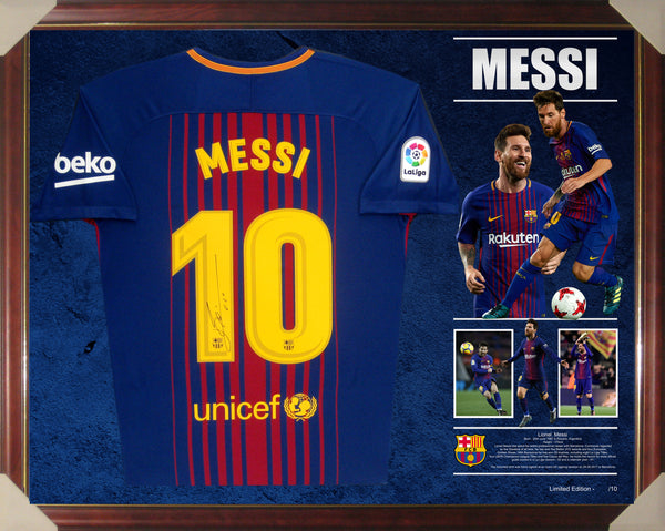 Lionel Messi Signed & Framed Shirt Jersey - Authenticated by Messi Foundation & Icons UK