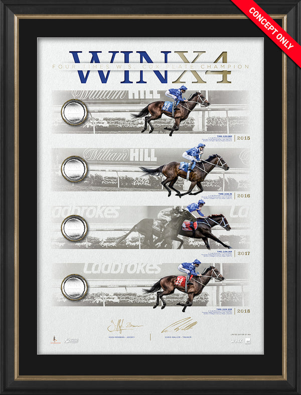 Winx 4 Cox Plates Dual Signed & Framed Limited Edition Lithograph – Bowman Waller