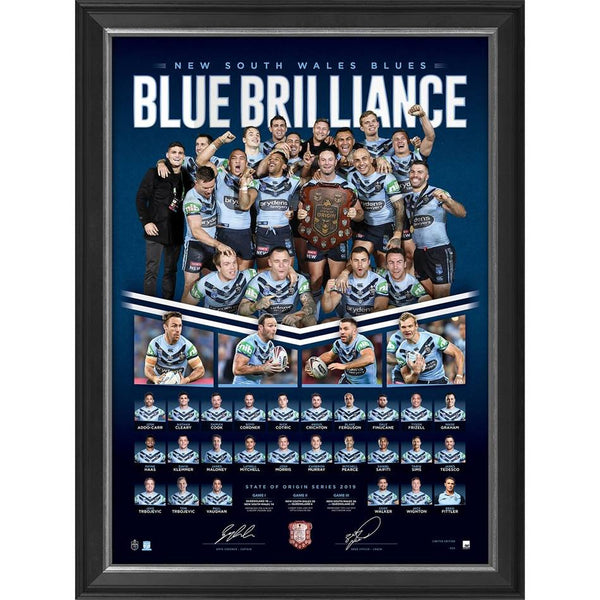 2019 Blue Brilliance NSW Blues State of Origin Limited Edition Lithograph Framed