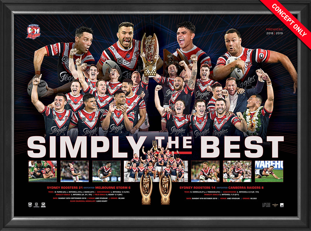 Sydney Roosters 2019 Premiers Simply the Best Framed Memorabilia Sportsprint Limited Edition
