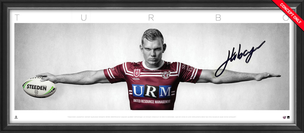 Tom Trbojevic Manly Sea Eagles Signed & Framed 'TURBO' Full Size Wings Tribute