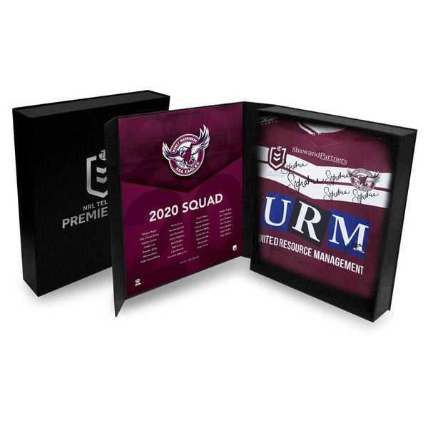 2020 Manly-Warringah Sea Eagles Squad Signed Jersey presented in a deluxe presentation box !