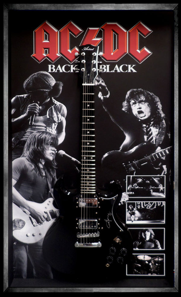 ACDC BACK IN BLACK – Angus Young SIGNED & FRAMED SG ELECTRIC GUITAR BECKETT AUTHENTICATED