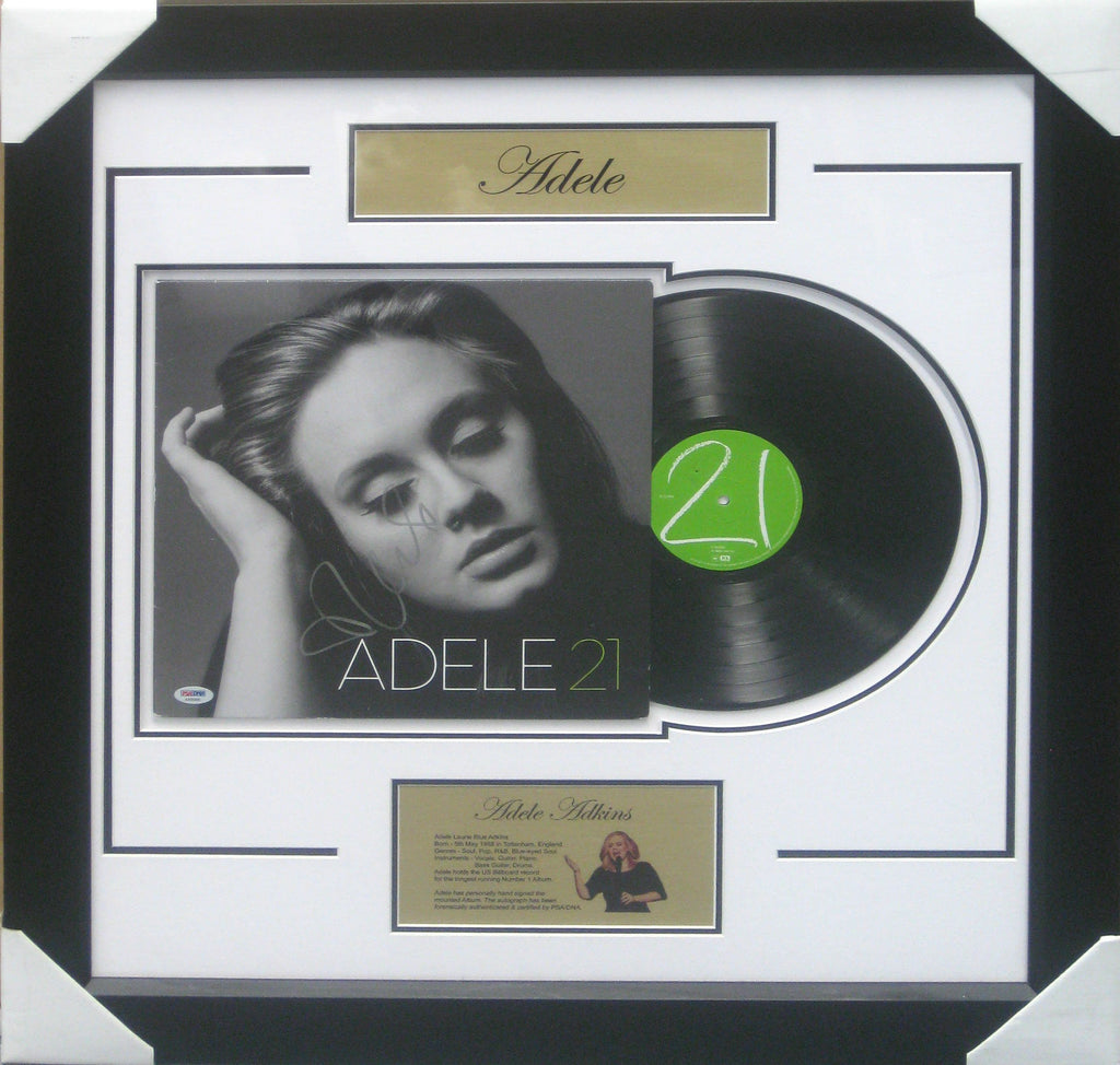 ADELE ADKINS SIGNED & FRAMED VINYL 21 ALBUM PSA #AA05895 *HOME OF THE REAL DEAL*