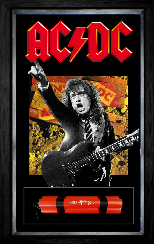 Angus Young ACDC Signed & Framed replica TNT - Beckett USA Authenticated