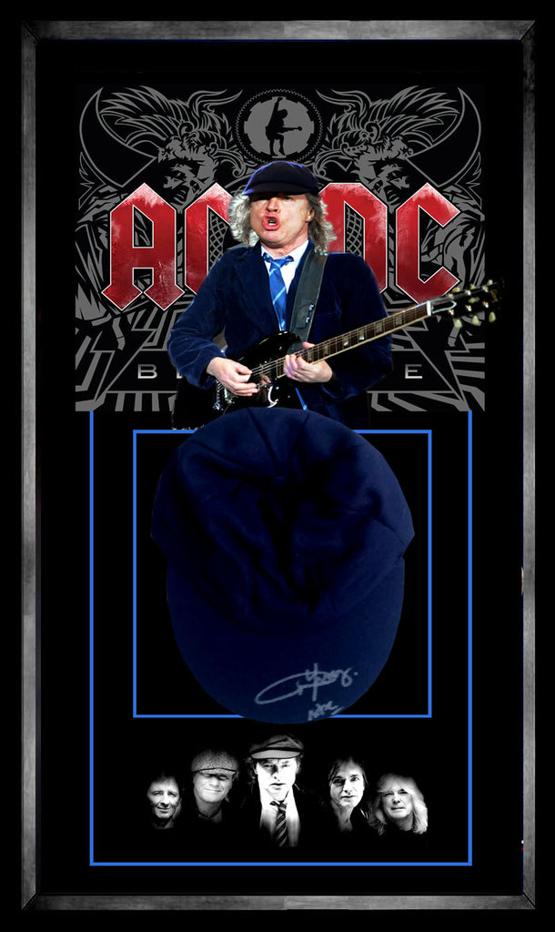 Angus Young ACDC Signed & Framed School Boy Cap with Certificate of Authenticity