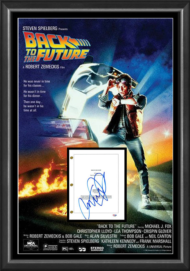 Michael J Fox 'BACK TO THE FUTURE' Signed & Framed Movie Script Case with PSA DNA USA authentication.