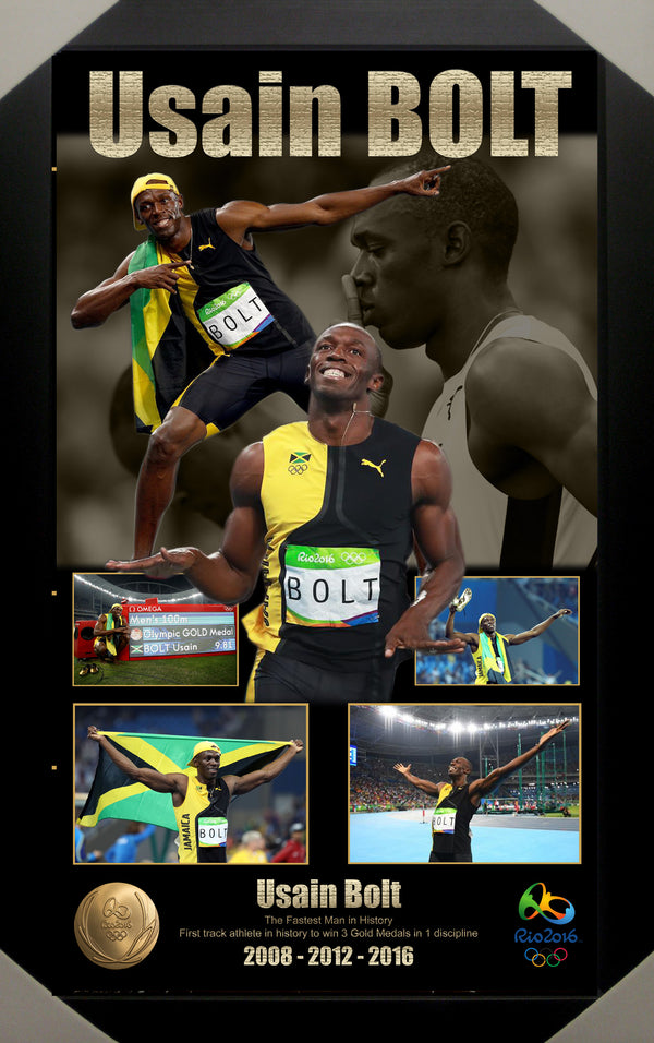 Usain Bolt Bulk Buy - Signed & Framed RIO Olympics Gold Medal + Framed Limited Edition Lithograph