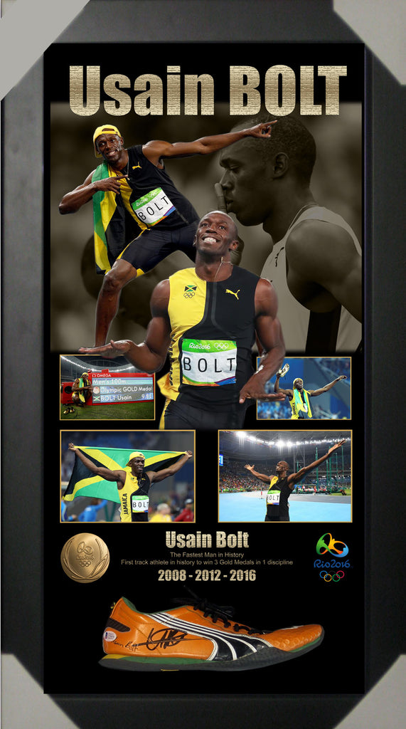Usain Bolt Signed & Framed RIO Olympics Shoe Runner - Beckett USA Authenticated
