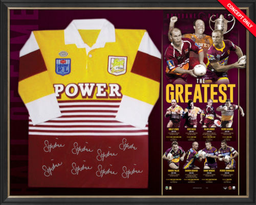 Brisbane Broncos Signed 'The Greatest' NRL Jersey Framed