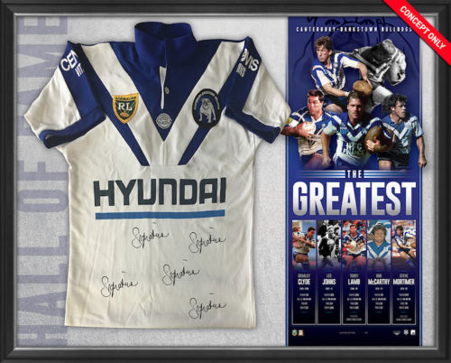 Canterbury Bankstown Bulldogs 'The Greatest' Signed NRL Jersey Framed