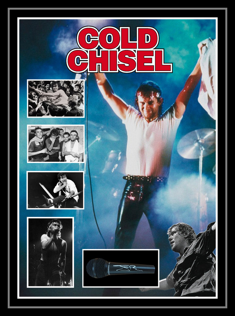 COLD CHISEL JIMMY BARNES SIGNED & BOX FRAMED MICROPHONE