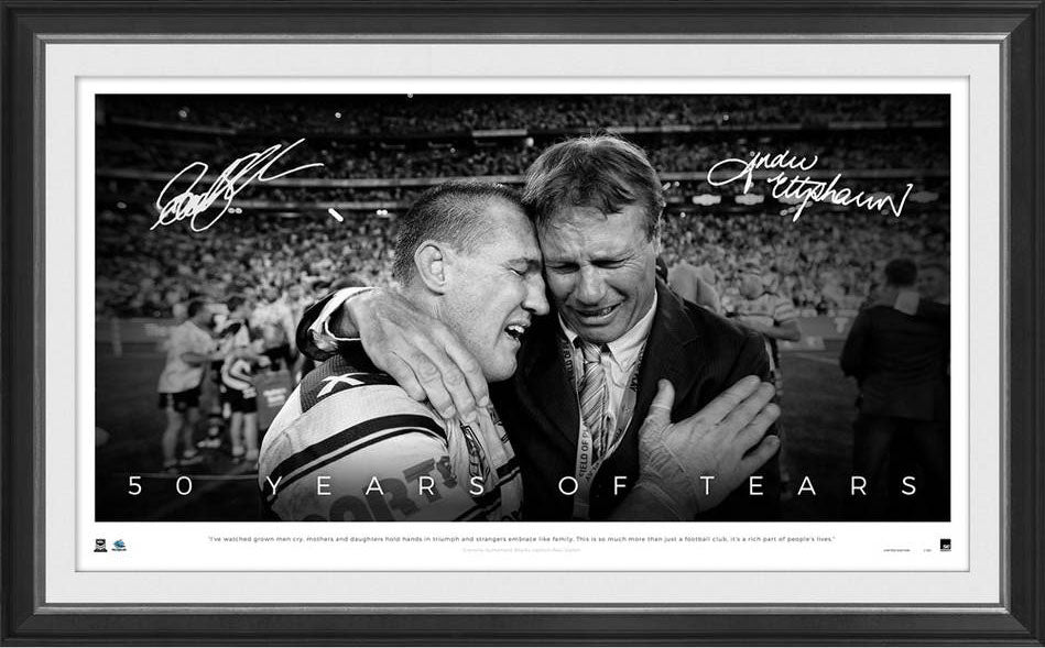 '50 Years of Tears' Paul Gallen & ET Cronulla Sharks Signed & Framed Limited Edition Lithograph