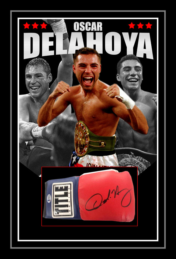 Oscar De La Hoya Signed & Framed Boxing Glove with Beckett Authentication