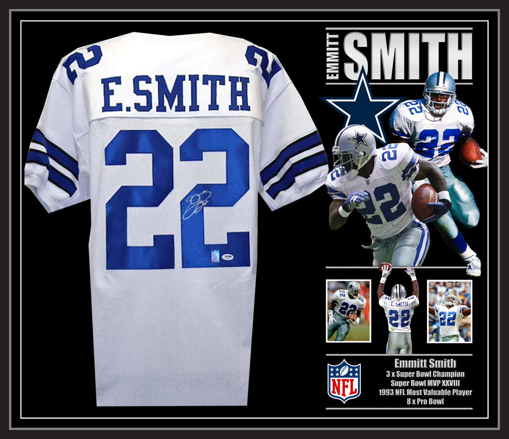 Emmitt Smith Dallas Cowboys Signed & Framed Jersey with Beckett USA Authentication
