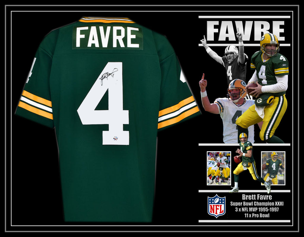 Brett FAVRE Green Bay Packers Signed & Framed Jersey with Brett FAVRE Certification
