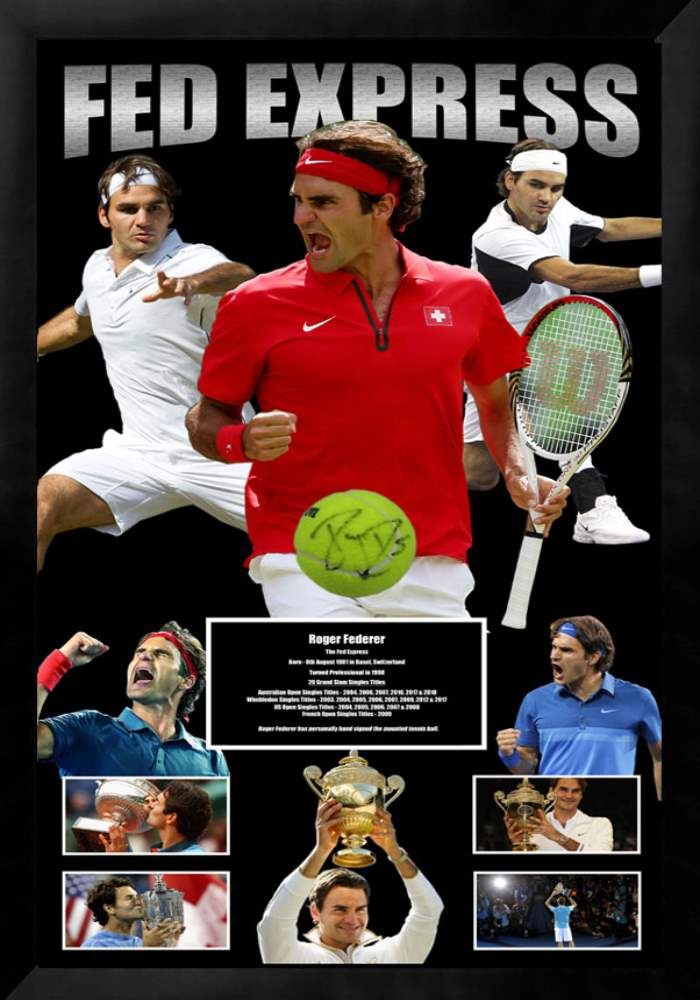 ROGER FEDERER HAND SIGNED & FRAMED TENNIS BALL + PHOTO PROOF + COA THE REAL DEAL