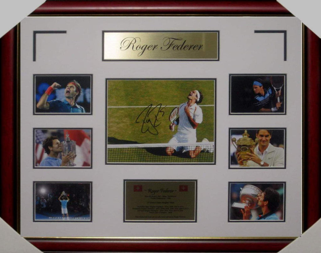 ROGER FEDERER TENNIS LEGEND SIGNED & FRAMED PHOTO COLLAGE WITH CERTIFICATE