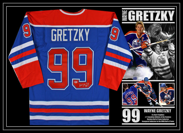 Wayne GRETZKY Signed & Framed NHL Jersey with Beckett USA Authentication