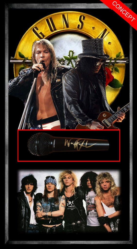 Guns n Roses - Axl Rose Signed & Framed Microphone